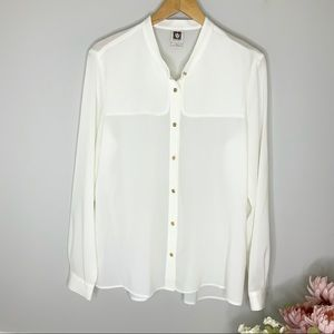 ANN KLEIN  White Button Down Long Sleeve Blouse